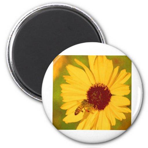 Amarillo de la abeja iman para frigorífico
