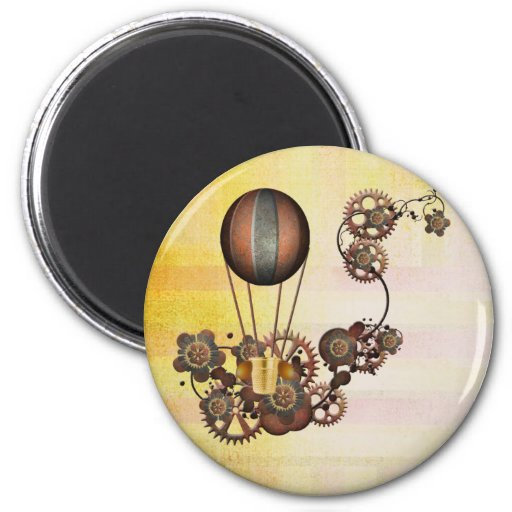Amarillo de la antigüedad del globo de Steampunk Imán Redondo 5 Cm