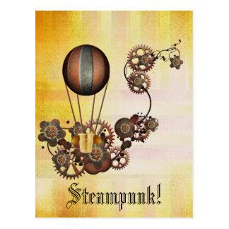 Amarillo de la antigüedad del globo de Steampunk Tarjetas Postales