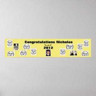 Amarillo de la bandera de la foto de la graduación póster