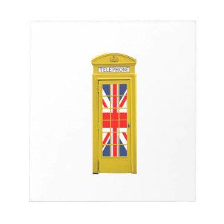 Amarillo de la cabina de teléfonos de Londres Ingl Blocs De Notas
