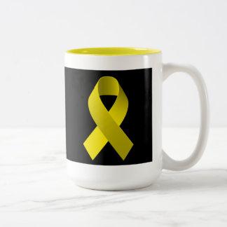 Amarillo de la cinta de la ayuda de la conciencia taza de dos tonos