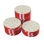Amarillo de la estrella 5 juego de fichas de póquer