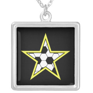 amarillo de la estrella de fútbol colgante cuadrado