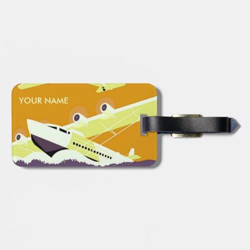 Amarillo de la etiqueta del equipaje del viaje del etiquetas de equipaje