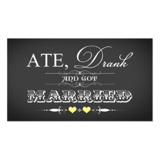 Amarillo de la etiqueta del favor del boda del tarjetas de visita