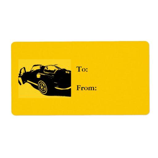 Amarillo de la etiqueta del regalo del coche etiqueta de envío
