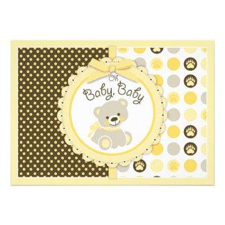 Amarillo de la fiesta de bienvenida al bebé del os anuncio personalizado