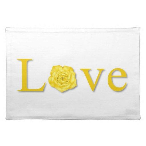 Amarillo de la flor del amor mantel