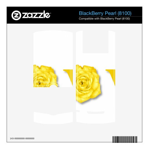 Amarillo de la flor del amor skins para BlackBerry pearl