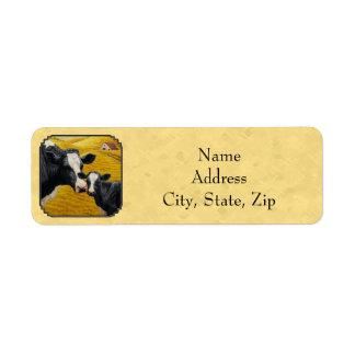 Amarillo de la granja de la vaca y del becerro de etiqueta de remitente