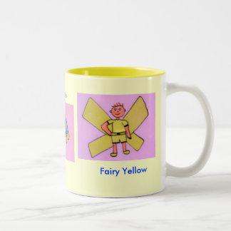Amarillo de la hada de la reunión tazas de café