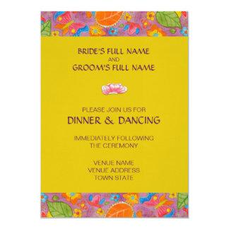 Amarillo de la invitación de la recepción nupcial invitación 12,7 x 17,8 cm