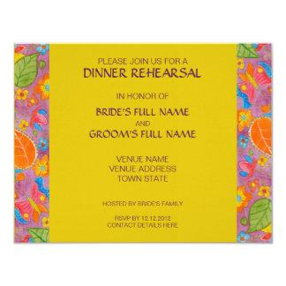 Amarillo de la invitación del ensayo de la cena de invitación 10,8 x 13,9 cm