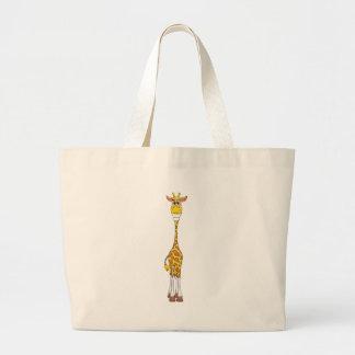 Amarillo de la jirafa bolsa tela grande