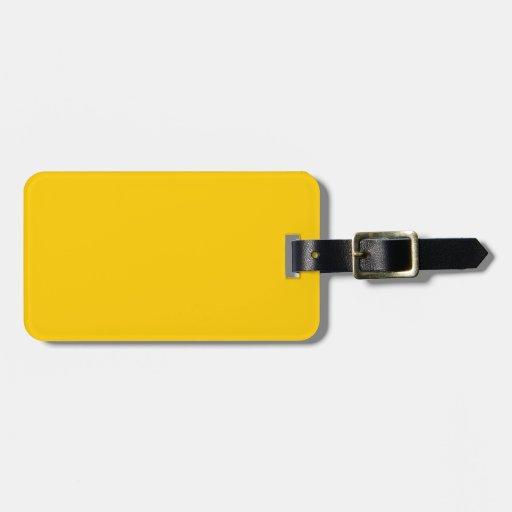 Amarillo de la mandarina etiquetas maletas