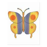 Amarillo de la mariposa tarjetas postales