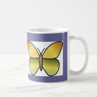 Amarillo de la mariposa taza de café