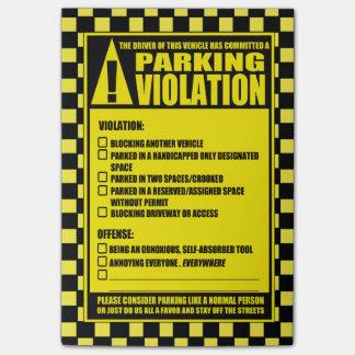 Amarillo de la multa de aparcamiento post-it® notas