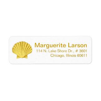 Amarillo de la playa el | del Seashell de la Etiqueta De Remitente