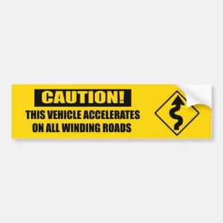 Amarillo de la precaución de la curva pegatina para auto