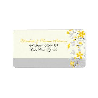 Amarillo de la rama de la magnolia, etiqueta de etiqueta de dirección