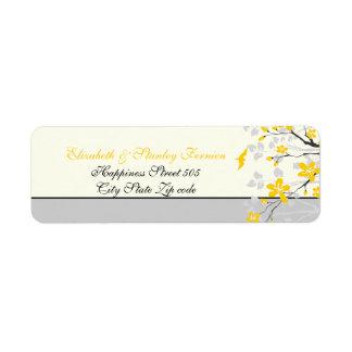 Amarillo de la rama de la magnolia, etiqueta de etiquetas de remite