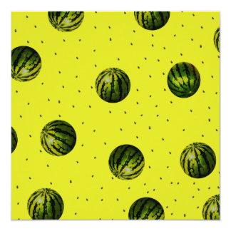 """amarillo de la sandía con las semillas invitación 5.25"""" x 5.25"""""""