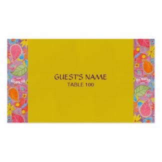 Amarillo de la tarjeta del lugar del boda de tarjetas de visita