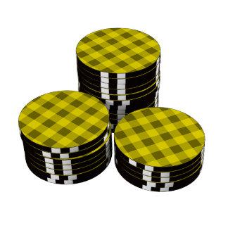 Amarillo de la tela escocesa 2 juego de fichas de póquer