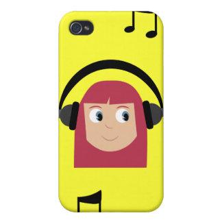 Amarillo de las cabezas lindas del chica y de las iPhone 4 cárcasa