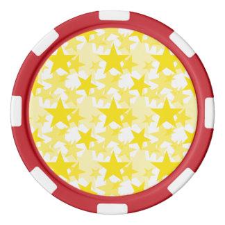 Amarillo de las estrellas 3 fichas de póquer