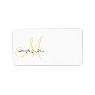 Amarillo de las etiquetas de dirección de la invit