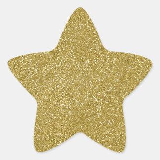 AMARILLO de las natillas de PANTONE con brillo Pegatina En Forma De Estrella