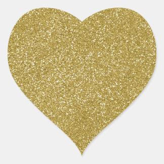 AMARILLO de las natillas de PANTONE con brillo Pegatina En Forma De Corazón