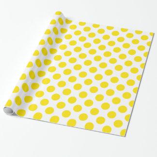 Amarillo de los lunares papel de regalo