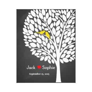 amarillo de los pájaros del libro de visitas de la impresión en lienzo