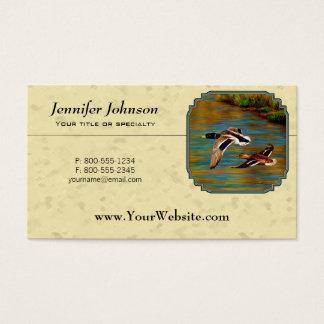 Amarillo de los patos salvajes que vuela tarjeta de negocios
