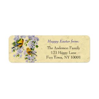 Amarillo de los pinzones del oro y de los flores etiquetas de remite