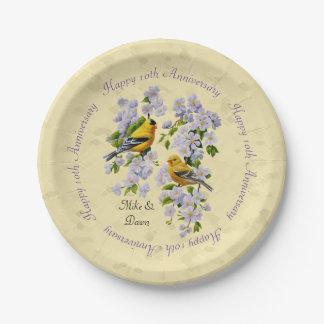 Amarillo de los pinzones del oro y de los flores plato de papel de 7 pulgadas