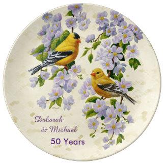 Amarillo de los pinzones del oro y de los flores platos de cerámica
