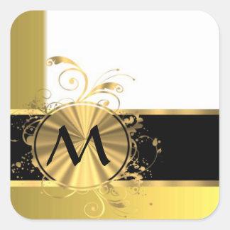 Amarillo de oro y oro pegatina cuadrada