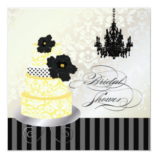 """Amarillo de PixDezines+Ducha nupcial del pastel de Invitación 5.25"""" X 5.25"""""""