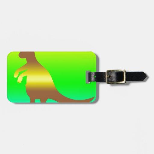 Amarillo de Silhoutte del canguro y verde frescos Etiquetas Bolsas