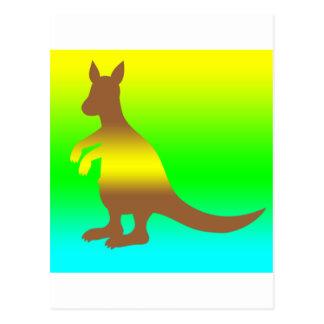 Amarillo de Silhoutte del canguro y verde frescos Postal