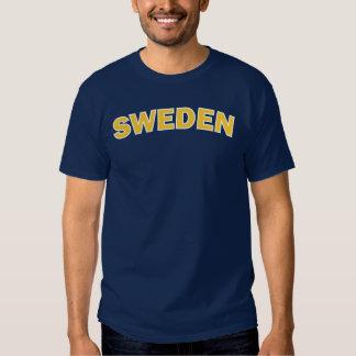 Amarillo de Suecia en la camiseta azul Playera
