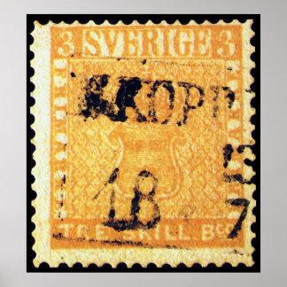 Amarillo de Treskilling de Suecia Sverige sello de Posters
