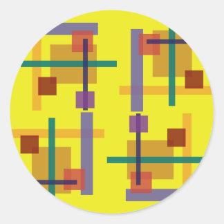 Amarillo del Abstractionist Pegatina Redonda