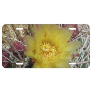 Amarillo del anzuelo del cactus de barril placa de matrícula