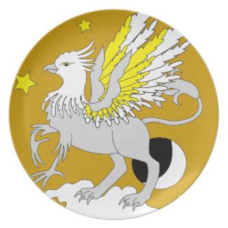 Amarillo del arte de Gryphon Plato De Comida